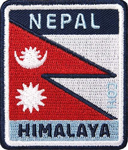 2 x Nepal Himalaya Aufnäher gestickt 54 x 64 mm / Bergsteigen Gebirge Berge Flagge Flagg Kathmandu Everest / Patch Aufbügler Flicken zum Aufbügeln Aufnähen auf Kleidung Jacke Rucksack Reiseführer