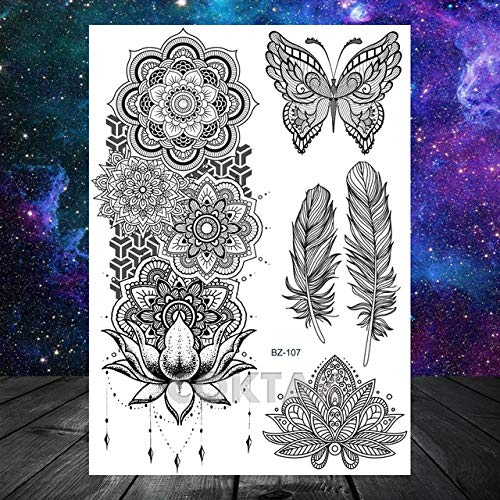 tzxdbh India Mandala Flower Black Custom Lion Tattoo Stickers Totem Feather Mujeres Tatoos Lace Girls Body Arm Tato-in Tattoos de Gr CBZ107