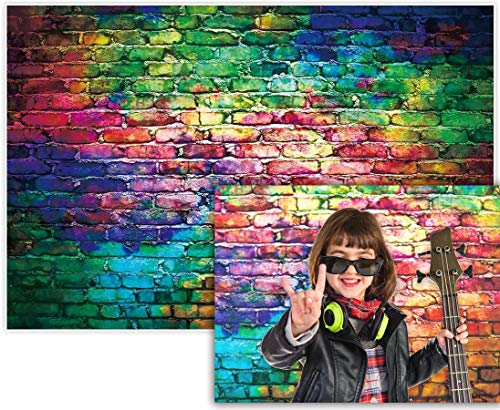 Allenjoy 5x3ft Colorful Brick Wall Backdrop for Awesome 80 s Hip Hop Disco Birthday Wedding Graduation Themed Party Product Portrait Video Photography Fashion Decor Background Studio Photo Booth