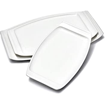 PURTURE Large Porcelain Serving Platter - Plate Set of 3 - Modern Round Rectangle Plates - White - Farmhouse Kitchen Dishes - Appetizer Tray - Dinner Trays - Platters for Sushi - Oven Safe Dinnerware