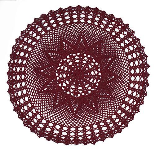 kilofly Handmade Crochet Cotton Lace Table Sofa Doily, Waterlily, Red, 22 inch