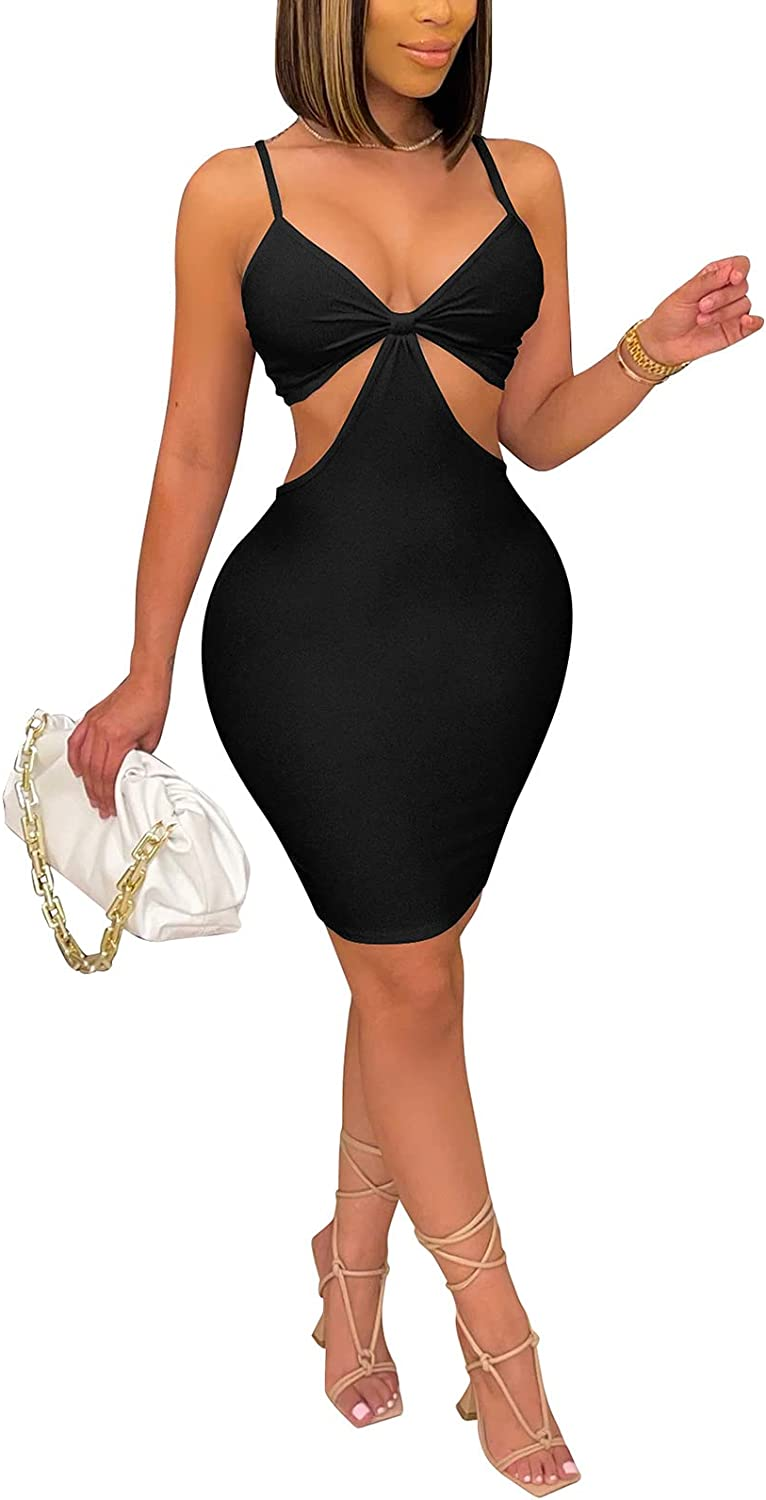 Womens Sexy Hollow Out Bodycon Dress - Spaghetti Strap Halter Neck Mini Dress Backless for Club Night