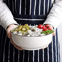 Salad Bowl Soup Bowls 3-Pack-60 Ounce Big Stackable Round White Fine Porcelain Pasta Bowl Serving Set