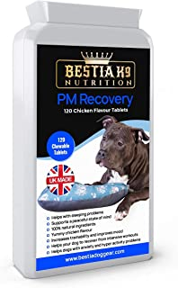 Bestia K9 Nutrition PM Recovery chewable Dog Calming Supplement. Helps Recover from Workouts. Relaxes and Improves Mood