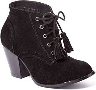 Charles Albert Women's Lace Up Chunky Stacked Heel Ankle Booties with Tassle