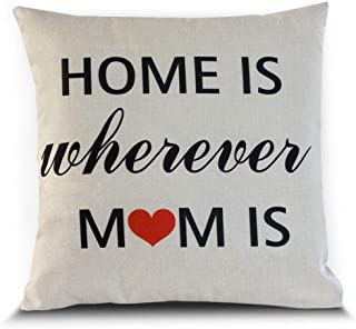 Petite Lili Home is Wherever Mom is Decor Throw Pillow Case Cushion Cover 18 x 18 Inch Cotton Linen - Mother's Birtday Gift.
