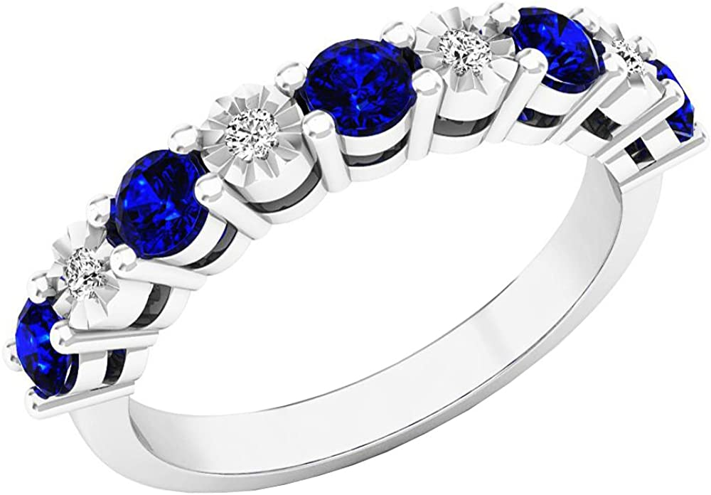Dazzlingrock Collection 14K Gold Round Blue Sapphire & White Diamond Bridal Wedding Band Anniversary Ring