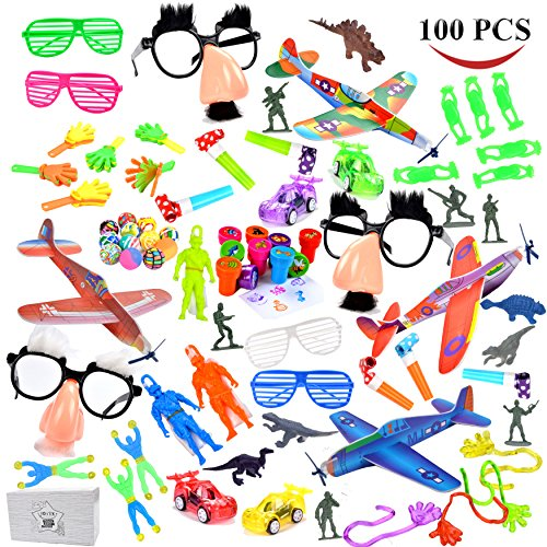 JOYIN 100pc+ Treasure Box Toys for Classroom, Party Favor Toy Assortment for Kids, Pinata Filler Toys, Carnival Prizes, Birthday Party Favors, Prize Box Toys for Kids,Easter Egg Stuffers