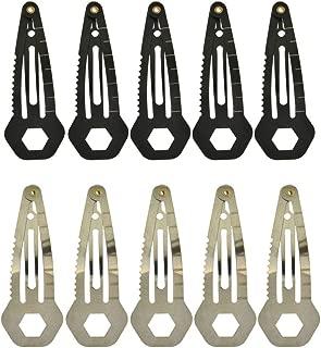 VintageBee 10 Pack Mini Multi Tool Multi-Functional Hair Clip Stainless Steel Women Self-Defense Tool EDC Survival Kit