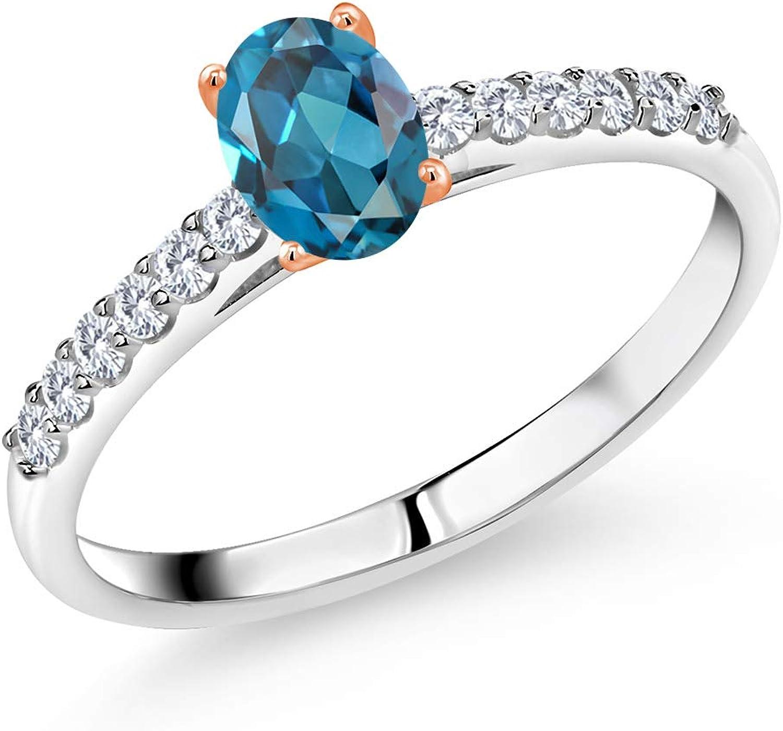 Gem Stone King 0.78 Ct Regular Max 40% OFF dealer London Blue Topaz Lab H 9 Grown G Diamond