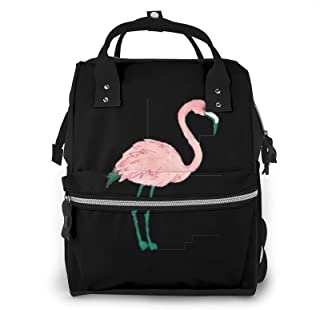 Hand Painted Flamingo Bird Print Diaper Bag Backpack,Multi-Function Maternity Nappy Bags For Travel,Large Capacity,Waterpr...