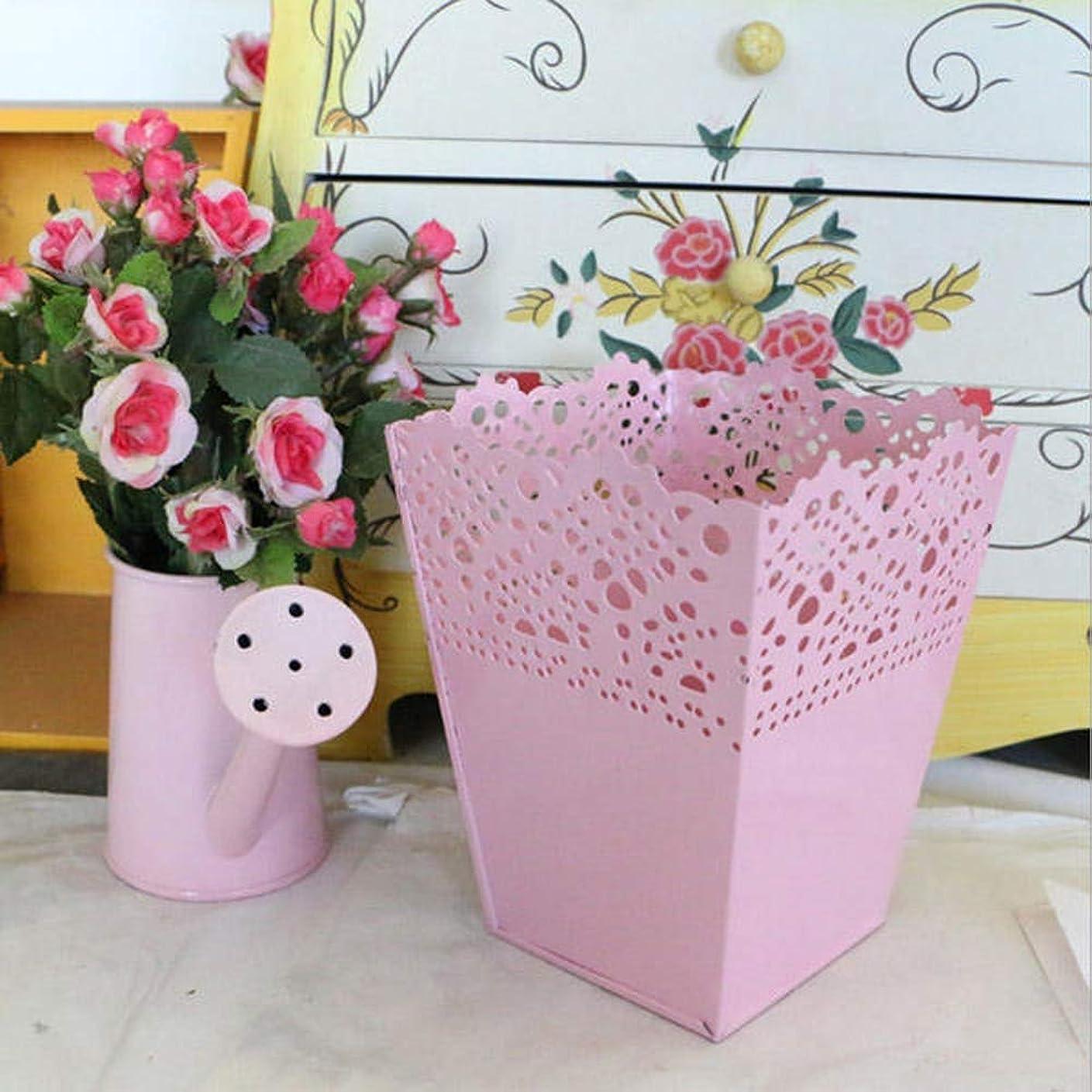 大西洋薬剤師パーツ花鉢 ガーデンアウトドア農村スタイルのロの字アイアン板フラワーポット家の庭の装飾植木鉢 観葉植物 (Color : Pink, Size : One size)