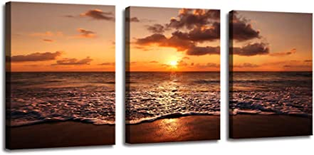 Canvas Wall Art Contemporary Simple Life Canvas Prints for Bedroom Wall Decor, Coast Dunes Beach Sea Panorama, Sunset Over Ocean on Maldives,Bathroom Wall Art HD Poster Framed Artwork for Home Walls