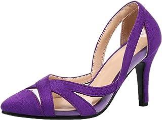 MAVMAX Women's Pointy Toe Stiletto High Heel Transparent Cutout Pumps