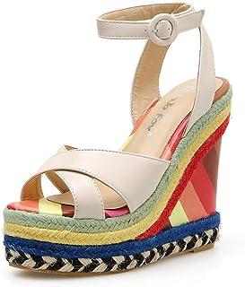 2d158354e5b43 Women Girls Wedges Weaved Roman Sandals Retro High Waterproof Platform  Slingback Sandal Vintage Colorful Beach Dress Shoes