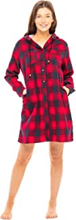 Women's Warm Flannel Sleep Shirt with Hood, Button Down Pajama Top