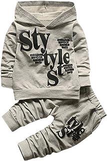 Kobay Toddler Baby Boy Style Letter Print Hood Tops Pattern Pants 2PCS Set Clothing