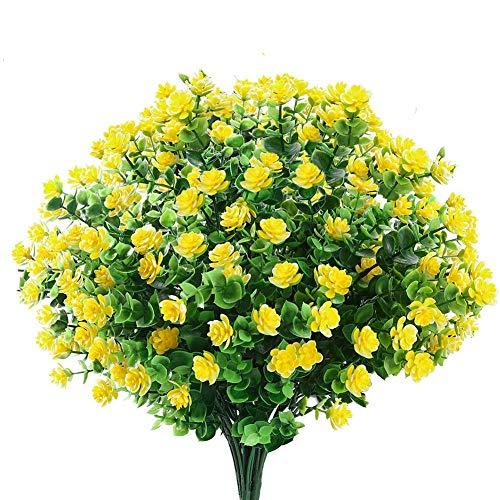 Ksnnrsng Künstliche Blumen,4 Stück Kunstblumen Grün UV-beständige Pflanzen Sträucher Unechte Blumen Innen Draussen für Zuhause Garten Braut Hochzeit Party Dekor (Gelb)