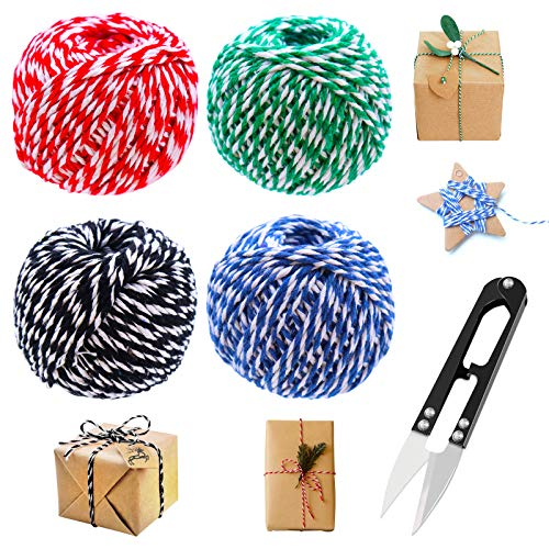 Twine Bakers Twine Butchers Twine Cooking Twine,918 Feet 1.5mm Christmas Twine String with U Sewing Scissors for DIY Crafts, Wrapping,Baking,Gardening,Home Decoration,4 Pack