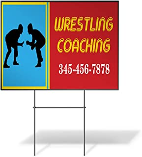 Custom Personalized Yard Sign Wrestling Coaching Phone Number Wrestler Red One Side Print 24inx18in