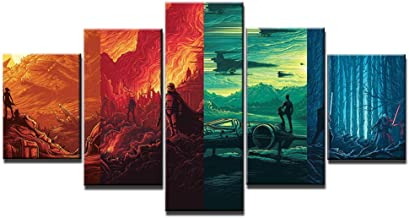 HD Print 5 Pieces Canvas Art Decoration Pictures Star Wars Posters Painting Wall Art Home Decoration for Living Room-With frame