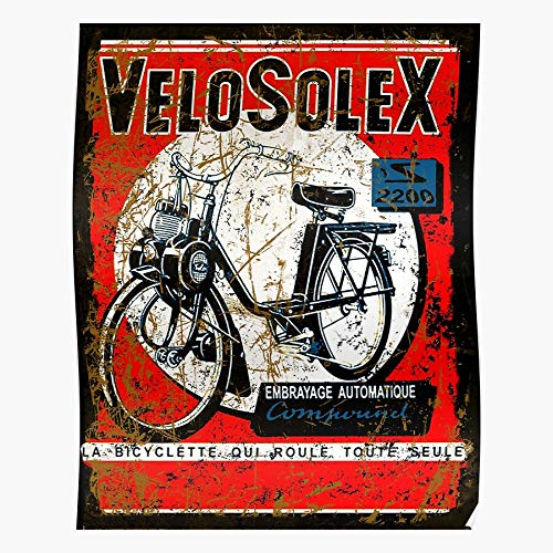 Vespa Solex Puch Velo Vintage Cycling Collectable Bicycle Scooter I Fsgteam- Impressive and Trendy Poster Print decor Wall or Desk Mount Options