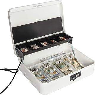 Jssmst Large Locking Cash Box with Money Tray, Metal Money Box with Combination Lock, White