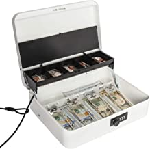 Jssmst Large Locking Cash Box with Money Tray, Metal Money Box with Combination Lock, White