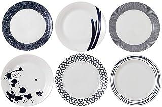Royal Doulton Pacific 40034435, Dinner Plate 28.7cm, Mixed Set of 6, Blue, Porcelain