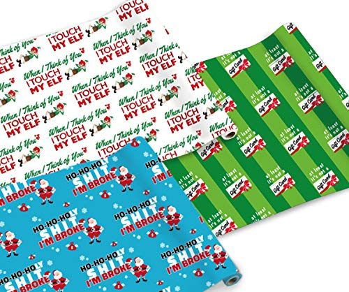 """Snarky Wraps - Funny Holiday Xmas Gift Wrap Paper for Adults - 30"""" x 120"""" -Three Rolls- 10 feet Continuous roll."""