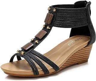 SHOULIEER Sandales compensées de Style Vintage pour Femmes 2021 Chaussures Romaines de Style Ethnique Bohême