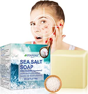 Sea Salt Soap, Sea Mineral Soap, Invigorating Bath Soap, Cleaner Removal Pimple Pores Acne Treatment Goat Milk Moisturizing Face Care Soap, for All Skin type