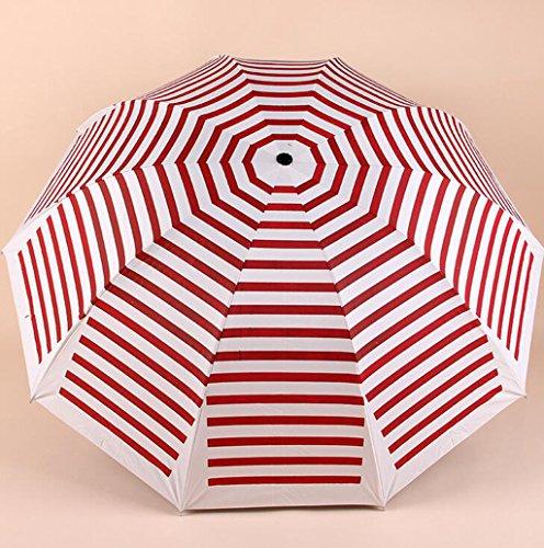GTWP GTWP GT Regenschirm Manual Mode 3 Folding Umbrella kreativ Streifen Stockschirm robuste Winddicht Anti-UV-Sonnenschutz Dach