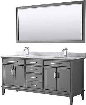 Margate 72 Inch Double Bathroom Vanity In Dark Gray White Carrara Marble Countertop Undermount Square Sinks And 70 Inch Mirror Amazon Com