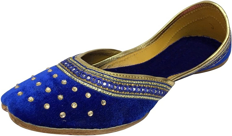 Step n Style Punjabi Jutti Indian shoes Flat Flop Flop Khussa shoes Salwar Kameez Sandals bluee