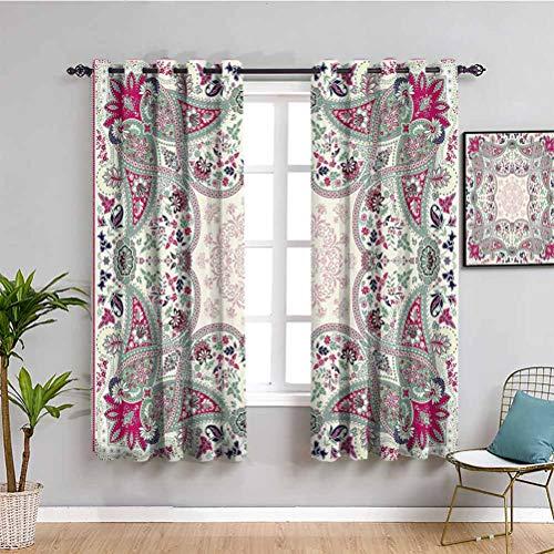 Paisley Outdoor Vorhang Damast Design Floral Ornament geometrisch & quadratisch Druck Wasserdicht Stoff Magenta Pink Aquamarin Marineblau Creme B 213 x L 213 cm