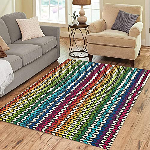 Alfombra de lana escandinava con patrón verde de rayas de punto de arco iris, 120 cm x 170 cm