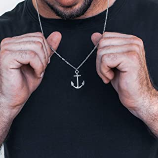 Mens Necklace Silver Nautical Necklace Anchor Necklace Made in Greece by Christina Christi. Anchor Jewelry