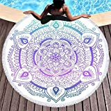 LIFUQING Flor Redonda Toalla De Playa Estera De Yoga Mantón De Playa Manta para El Hogar Mochila con Cinturón Bolso Adulto Niño 150X150 Cm
