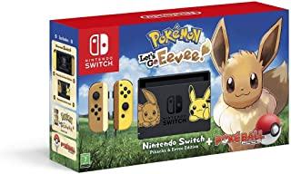 Nintendo Switch Let's Go Eevee Limited Edition Console with Joycon with Pokemon: Let's Go Eevee + Pokeball Plus Controller