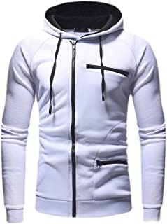 Mens Pullover Casual Athletic Solid Long Sleeve Zipper Hooded Hoodies Pullover