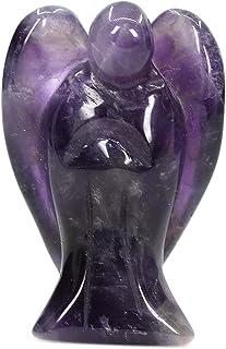 (Amethyst) - Natural Amethyst Gemstone Carved Crystal Figurine 3.8cm Peace Angel