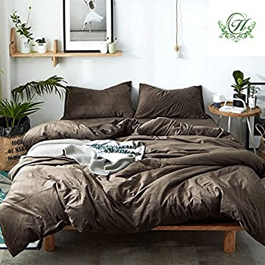LifeTB Duvet Cover Set King Size Solid Coffee Luxury Thickened Velvet Duvet Cover Set with 2 Pillow Shams - Hotel Quality Flannel Winter Warmth Luxurious Bedding Sets