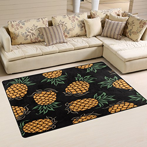 WOZO Watercolor Pineapple Fashion Area Rug Rugs Non-Slip Floor Mat Doormats Living Room Bedroom 60 x 39 inches