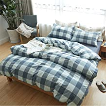 CLOTHKNOW Blue Checkered Duvet Cover Sets King Geometric Pattern 100% Cotton Grid Bedding Cover Sets for Boys Men Durable 1 Duvet Cover 2 Pillowcases no Comforter