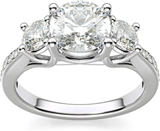 925 Sterling Silver 1.25 Ct Round White CZ 3 Stone Engagement Ring with Side Stones