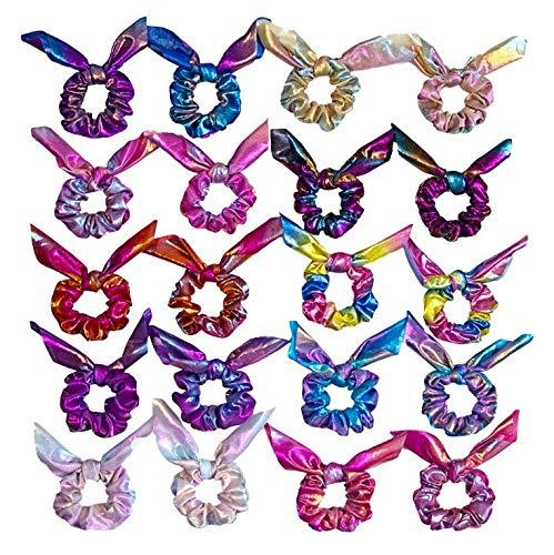 Fodlon Haargummis Scrunchies Set, 10 Stück Bowknot Elastische Metallische Haargummis Haar Scrunchies Gummibänder Haarbänder mit Farbverlauf in Meerjungfrauen Farben für Mädchen Damen