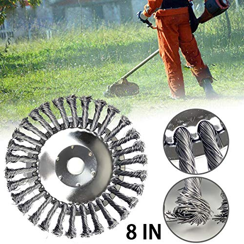 Aaaspark 8 inch Wire Trimmer Blade Steel Wire Wheel Rotary Weed Brush Joint Twist Knot Steel Wire Wheel Brush Disc Trimmer Head Universal fit Straight Shaft Trimmer for Sthil Honda etc (200x25mm)