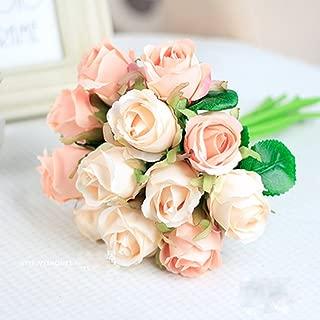 Meiliy Silk Artificial Flower Fake Floral Rose Flower Simulation Rose for Home Hotel Office Wedding Party Garden Craft Art Decor, Pink
