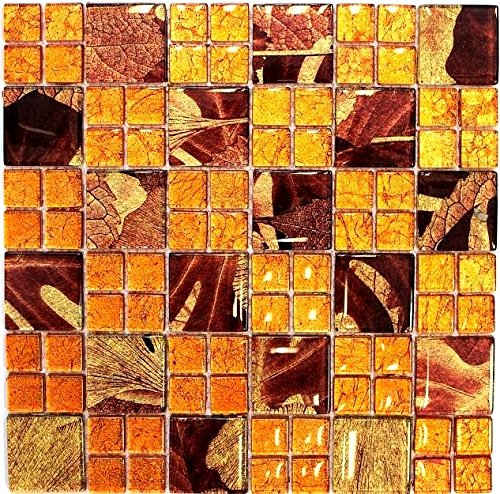 Mosaik Fliese Transluzent Kombination Glasmosaik Crystal Sunrise orange für WAND BAD WC DUSCHE KÜCHE FLIESENSPIEGEL THEKENVERKLEIDUNG BADEWANNENVERKLEIDUNG Mosaikmatte Mosaikplatte